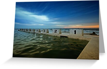 Merewether Ocean Baths at Dusk 2 by Mark Snelson