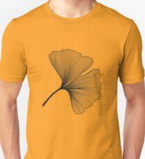 Ginkgo Biloba leaves pattern - black and white T-Shirt