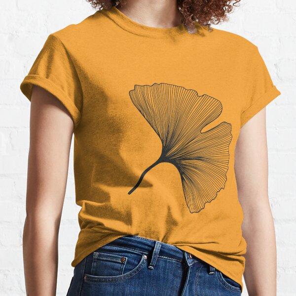 Ginkgo Biloba leaves pattern - black and white Classic T-Shirt