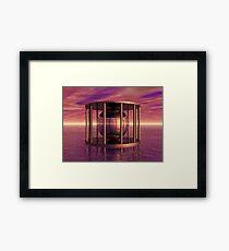 Metal Cage Floating In Water Framed Print