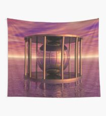 Metal Cage Floating In Water Wall Tapestry