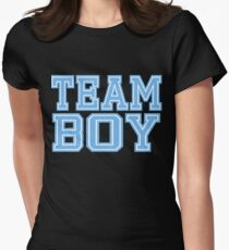Team Boy Mom Baby Shower Blue Gender Reveal Party Cute Funny Gift Women's Fitted T-Shirt