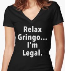 Relax Gringo  Women's Fitted V-Neck T-Shirt