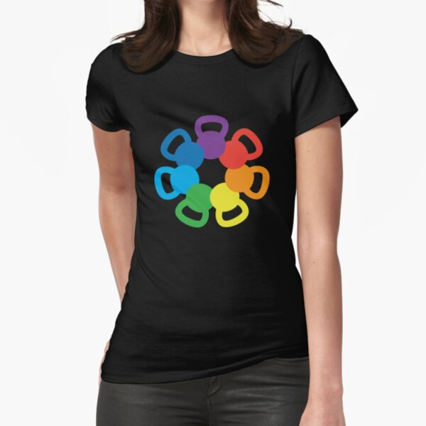Rainbow Kettlebell Fitted T-Shirt
