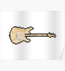Pixel Worn Out Cream Blues Guitar Poster