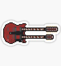 Pixel Big Red Double Neck Guitar Sticker