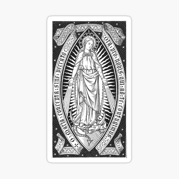 Immaculate Conception 02 - black bkg Sticker