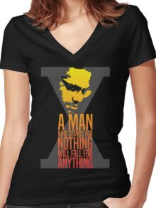 Malcolm X Typography Quotes Women's Fitted V-Neck T-Shirt