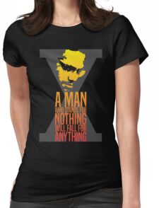 Malcolm X Typography Quotes Womens Fitted T-Shirt