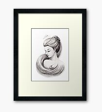 Woman with paper airplane Framed Print