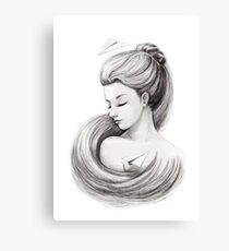 Woman with paper airplane Canvas Print