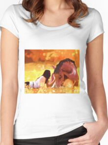 Horse and Rider Painting Women's Fitted Scoop T-Shirt