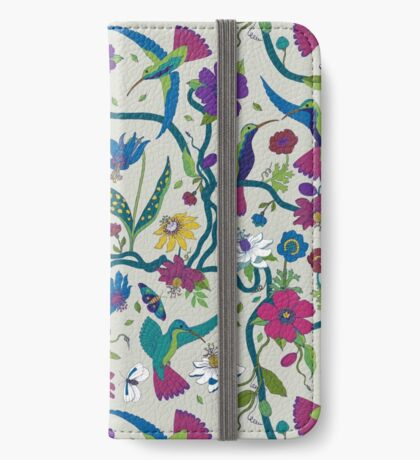 Hummingbirds & Passion flowers - on grey - pretty floral bird pattern by Cecca Designs iPhone Wallet