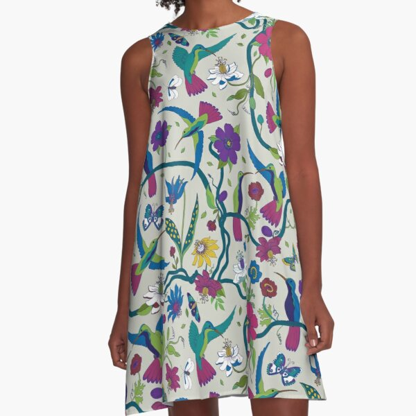 Hummingbirds & Passion flowers - on grey - pretty floral bird pattern by Cecca Designs A-Line Dress