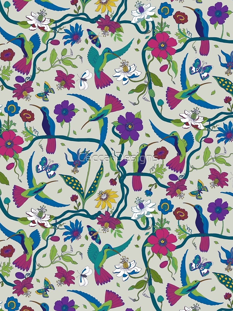 Hummingbirds & Passion flowers - on grey - pretty floral bird pattern by Cecca Designs by Cecca-Designs
