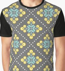 Scandinavian flowers 01, yellow, gray and teal, diamond pattern  Graphic T-Shirt