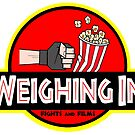 Weighing In Fights and Films dinosaur logo by Brett Gilbert
