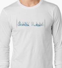 Skyrim Skyline (with background) Long Sleeve T-Shirt