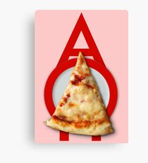 A O Pie - Pizza on a Red Plate Canvas Print