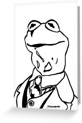 Kermit the frog black and white portrait jtownsend greeting cards kermit the frog black and white portrait jtownsend by jay townsend m4hsunfo