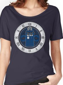 TARDIS and Clock - Doctor Who Women's Relaxed Fit T-Shirt