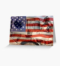 American Flag and Soldier with Humvee Postcard Greeting Card