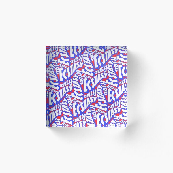 'American Ecstasy' Red White & Blue Old Movie Typeface Pattern Acrylic Block