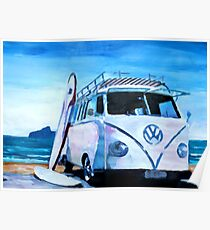 Surf Bus Series - The White Volkswagen Poster