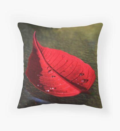 Red Pointsettia Throw Pillow