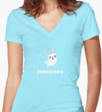 BunniCorn Unicorn Funny Bunny Rabbit Easter Cute Unique Kawaii Graphic Tee Shirt Women's Fitted V-Neck T-Shirt