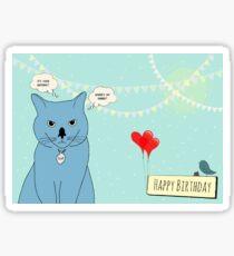 Birthday cat sup Sticker