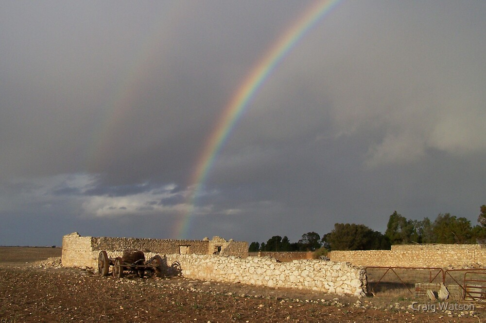Rainbow over farm yard ruin near Yorketown , South Australia by Craig Watson