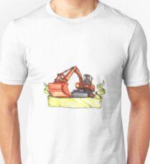 Mechanical Digger Excavator Ribbon Tattoo Unisex T-Shirt