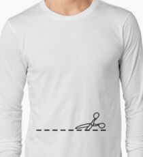 Cut Along The Dotted Line Long Sleeve T-Shirt