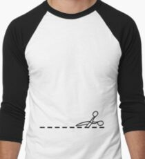 Cut Along The Dotted Line Men's Baseball ¾ T-Shirt