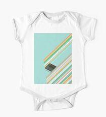 Diagonal Lines Geometric Art Design - Sky Blue, Orange, Green One Piece - Short Sleeve