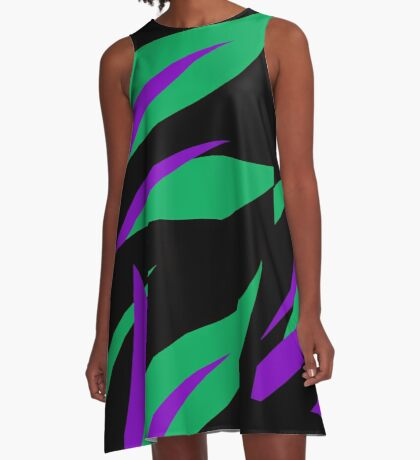 Green and Purple Tropical Abstract A-Line Dress