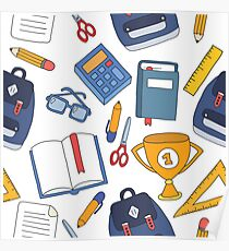 school stuff doodle pattern Poster