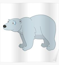 Adorable cartoon polar bear Poster