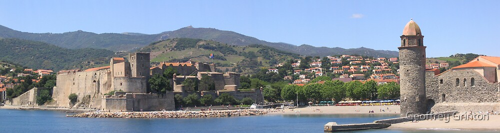 Collioure Harbour and Fort, France by Geoffrey Grinton