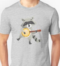 Funny raccoon playing the banjo Unisex T-Shirt