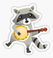 Funny raccoon playing the banjo Sticker