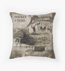 Vintage Hockey Throw Pillow