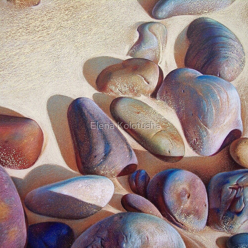 """Pallette of stones - Hallett Cove beach SA"" - detail 2 by Elena Kolotusha"