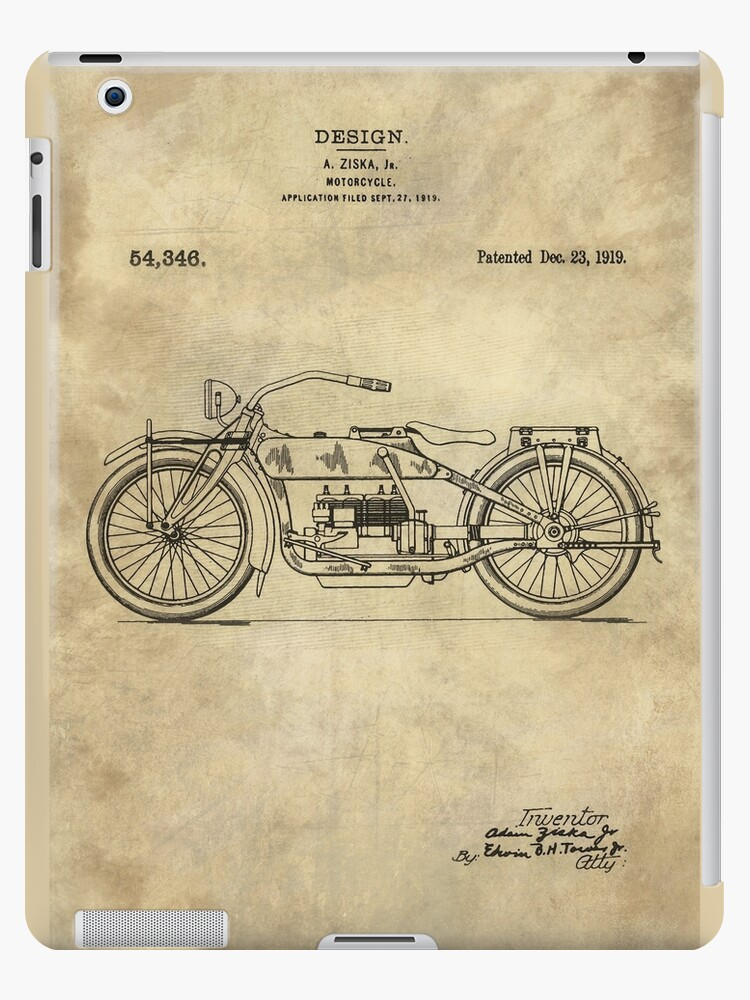 Antique motorcycle blueprint patent drawing plan from 1919 antique motorcycle blueprint patent drawing plan from 1919 industrial farmhouse by glimmersmith malvernweather Choice Image