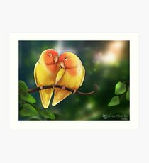 Peach Faced Lutino Lovebirds with Background Art Print