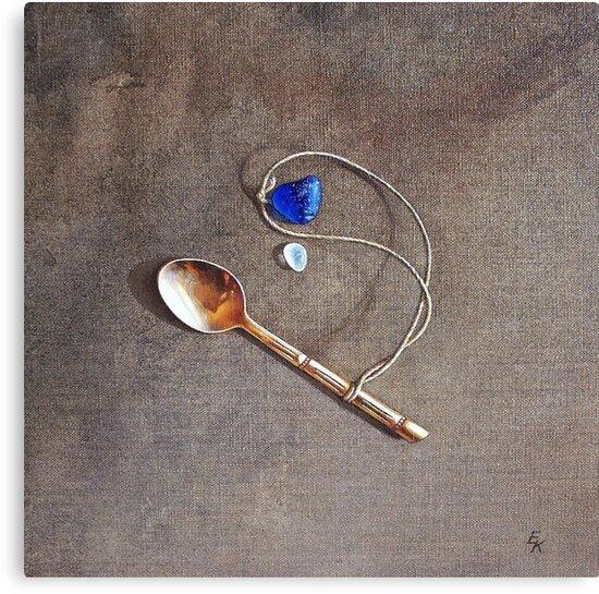 """Still life with teaspoon and seaglass"" by Elena Kolotusha"