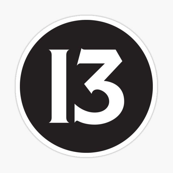 Número 13 Negro Pegatina