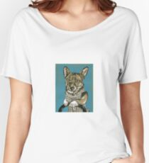 Corgi in a Corset - Ink and Acrylic Women's Relaxed Fit T-Shirt