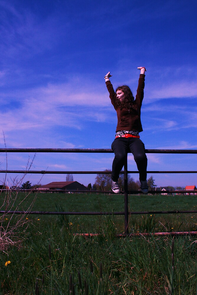 Emily On A Fence by BenoitSelavy